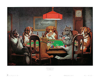 CLASSIC DOGS PLAYING POKER ART PRINT BY C.M. COOLIDGE man cave decor wall poster