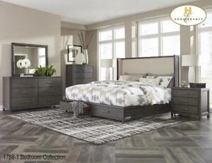 Queen Bedroom with Winged headboard - Furniture Sale (BD-2329)