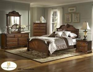 Solid Wood 8 PC Queen Bedroom - Bedroom Furniture Sale (BD-2439)