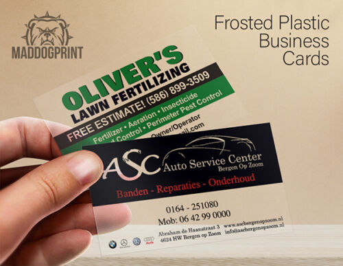 1000 Full Color Frosted Plastic Business Cards - FREE Design & Shipping!