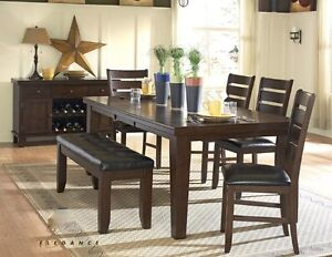 Dining table w/ 6 chairs or 4 chairs & bench, NEW in boxes