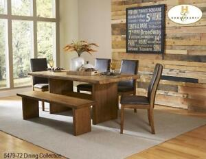 Solid Top Live Edge Dining Set (MA521)