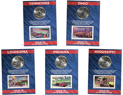 USPS STATE QUARTERS, STAMPS & CARD SET TN, OH, LA, IN, MS