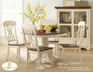 NEW!!! SOLID WOOD MODEL 1393W-48 - 5PC ROUND TABLE AND CHAIRS