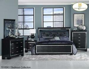 5PC Black Bedroom Set with LED Lighting