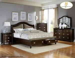 New Luxury Queen Dark Cherry Storage Bed + table ~Retails $2500