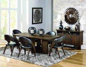 Modern Wooden 7 PC Dining Set with Curvy Leather Chairs (MA310)