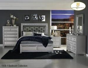 Silver tufted Back 8 PC Queen Bedroom - Online only deal (MA239)