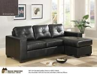 SALE ENDS SEP07,Black BondedLeather Or GreyLinen Sofa withChaise