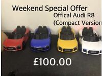 Audi R8 Compact, LED Lights,Opening Doors,MP3 Player,Engine Start Parental Remote & Self Drive