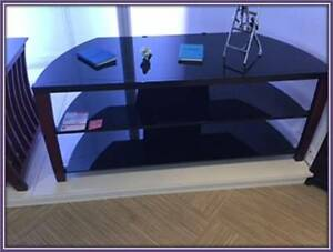 **GLASS AND WOOD ENTERTAINMENT UNIT FOR SALE**