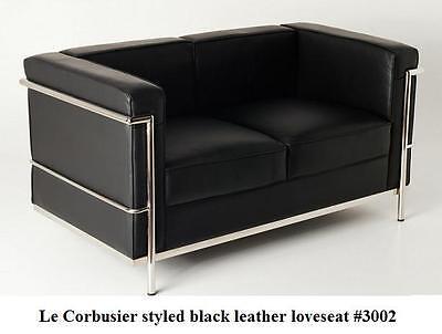 (Modern Le corbusier leather loveseat in black or white #3002)