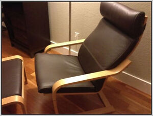 Brown/Birch Leather Poang Chair