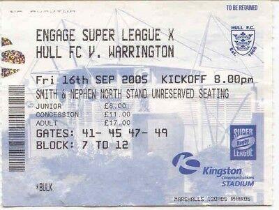 Ticket - Hull FC v Warrington 16.09.05