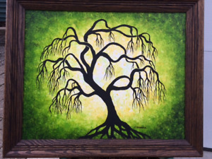 Twisted green wollow tree , Wall art, Original acrylic painting