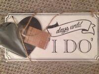 Brand new 'I Do' chalkboard wedding countdown plaque