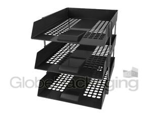 6 x BLACK IN/OUT LETTER FILING TRAYS + RISERS (i.e. 2 COMPLETE SETS)