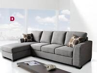 BRAND NEW!! BEAUTIFUL GREY FABRIC SECTIONAL