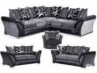 Luxury Shannon chennille fabric sofas/ 3+2 seater sofa set or universal corner sofa
