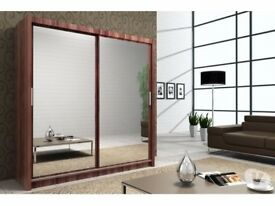 【❋❋ CHOOSE SIZE OF YOUR CHOICE ❋❋ 】BERLIN SLIDING WARDROBE FULLY MIRROR WITH SHELVES & HANGING RAILS