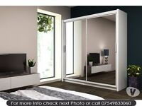 LIMITED OFFER SLIDING 2 DOOR WARDROBE IN DIFFERENT WIDTH120CM 150CM IN WHITE BLACK AND WALNUT COLOUR