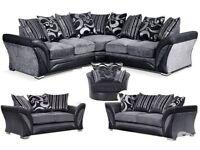 LATEST SALE OFFER 3+2 BRAND NEW FREE STORAGE POUFFE LUXURY dfs shannon corner sofa