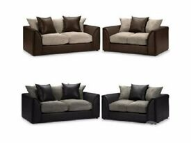 ❤Brand New Italian Jumbo Cord Fabric Byron 3 and 2 Seater Sofa or Corner Sofa Avlbl in Black n Brown