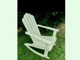 Attractive Wooden Rocking Chair In Cream, White Colour. Indoor Or Outdoor Self Assembly.