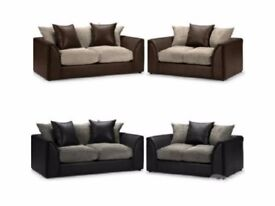 💥💥🔥💥BLACK/GREY OR BROWN/MINK💥💥 New Jumbo Cord 'Double Padded' Byron Corner Or 3+2 Leather Sofa
