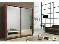 Brand New Chicago 2 Door Sliding Wardrobe with Mirrors, Hanging Rails in Black/White/Wenge/Walnut