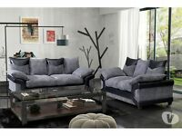 EXCLUSIVE OFFER-JUMBO CORD- FABRIC + LEATHER 3+2 SEATER SOFA IN BLACK GREY