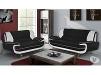 EXCLUSIVE OFFER! Free Delivery! Brand New Looks! 3 AND 2 SEATER SOFA in black and red