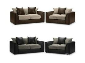 *Same Day* New Byron Jumbo Cord Corner or 3 and 2 sofa *Black Grey Brown Beige Mix Or Single Color