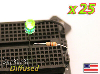 25x Green 5mm Led Diffused Lens - Mod Your Car Or Pc