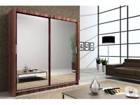 *7-DAYS MONEY BACK GUARANTEE* GERMAN 2 or 3 FULL MIRRORED DOOR SLIDING WARDROBE WITH SHELVES & RAILS
