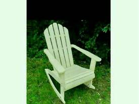 Attractive Wooden Rocking Chair In Cream Colour. Indoor Or Outdoor Self Assembly.