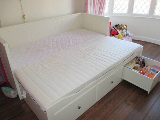 Ikea Hemnes Cream Day Bed Double King Size Bed With Two Mattresses And  Storage