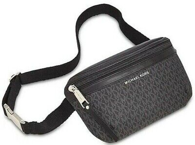 Michael Kors Signature Logo Women's Fanny Pack Bum Bag - Black / Silver