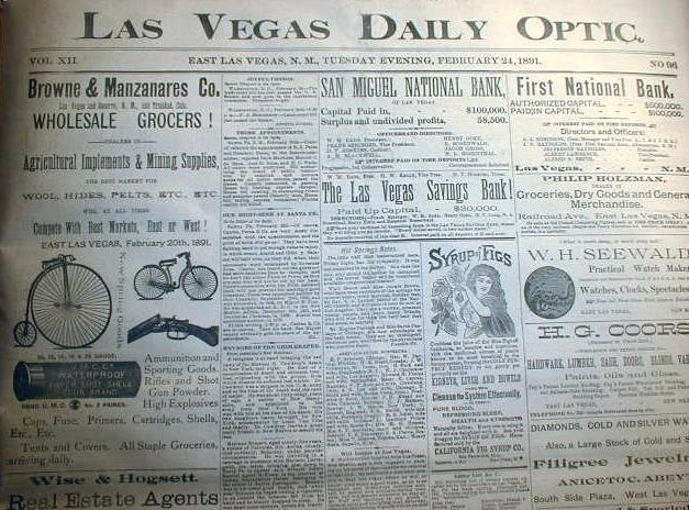Rare original 1891 newspaper LAS VEGAS New Mexico Territory WILD WEST 130 yrsOld