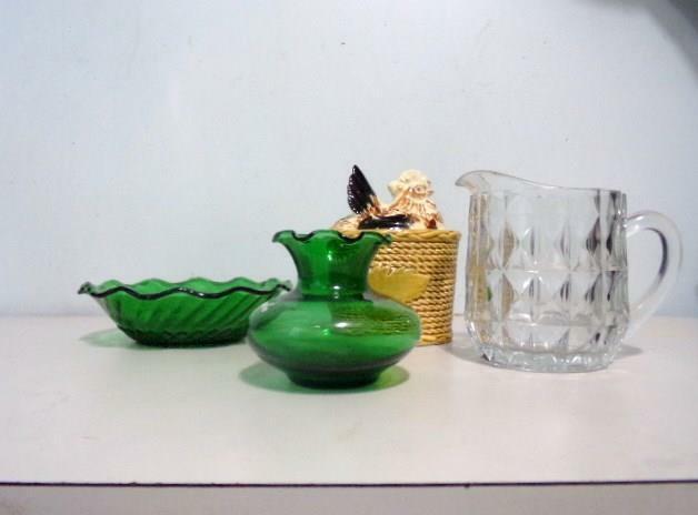 Vintage Collectors Dealers Lot 3 Pieces Depression Glass & Chicken Sugar Bowl