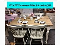 Country kitchen, shabby chic table & 4 chairs