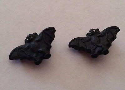 Set Mini Halloween Black Peruvian Ceramic Bat Beads 2 OR Lot of 10 OR 20 - Halloween Peru 2