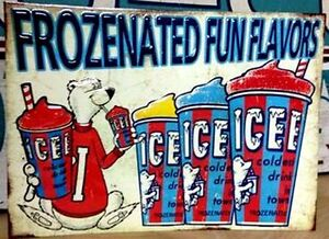Icee- Fun Frozen Flavors- Embossed Raised Letters Tin Wall Sign Sarnia Sarnia Area image 1