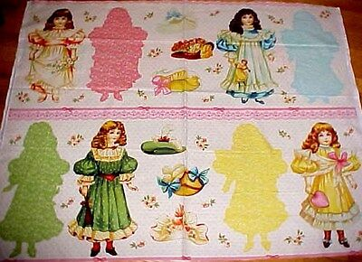 Blue Hill Victorian Paper Dolls Fabric Craft Panel 15