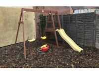 Plum Wooden Double Swing & Slide Set