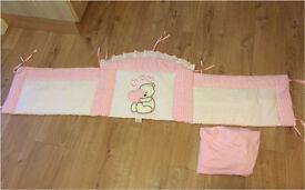 Cot bumper pink girls girl