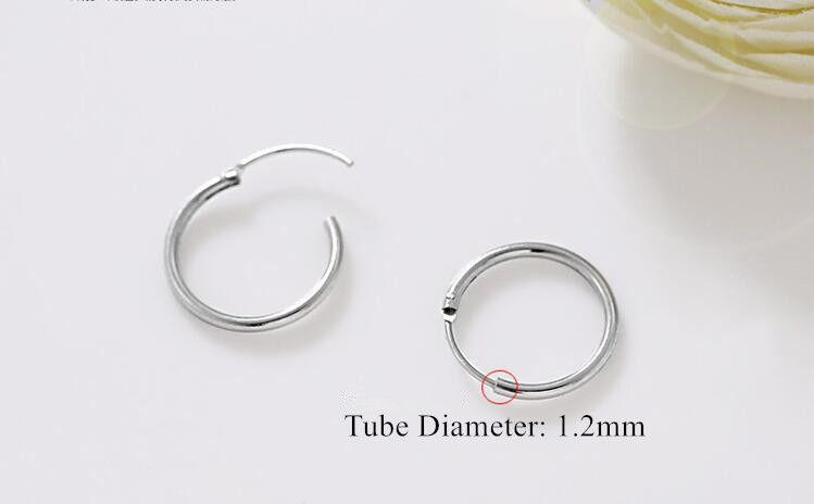 Genuine Solid 925 Sterling Silver Hinged Hoop Sleeper Circle Earrings Women//Men