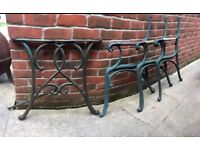 Cast iron garden high back bench ends x 3 and matching table ends set