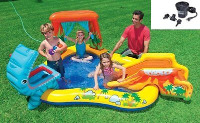 Intex Dinosaur Play Center Inflatable Kids Swimming Pool + Quick Fill Air Pump