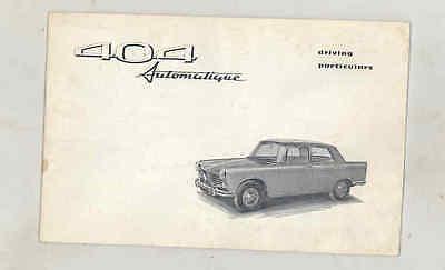 1967 Peugeot 404 Automatique ORIGINAL Owner's Manual fo1612